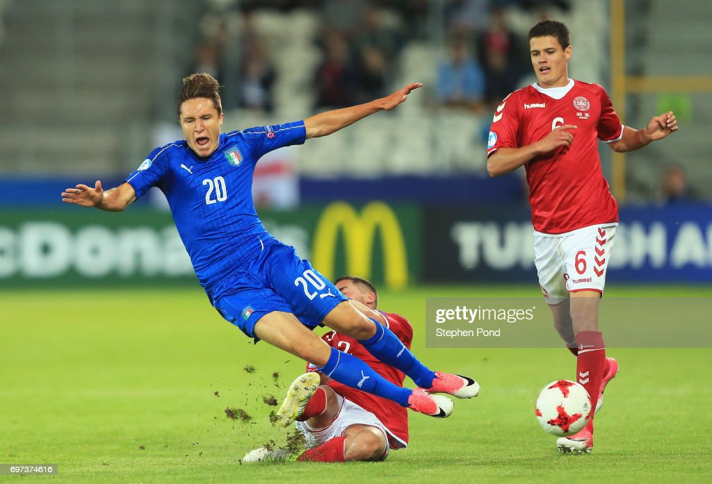 Federico Chiesa of Italy is fouled by Frederik Holst of Denmark during the UEFA European Under-21 Championship Group C match between Denmark and Italy at Krakow Stadium on June 18, 2017 in Krakow, Poland.