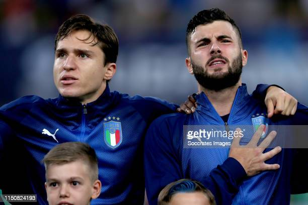Federico Chiesa of Italy U21 Patrick Cutrone of Italy U21 during the EURO U21 match between Italy v Poland at the Stadio Renato Dall'Ara on June 19...