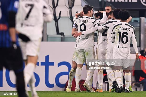 Federico Chiesa of Juventus celebrates 1-0 with Juan Cuadrado of Juventus, Rodrigo Bentancur of Juventus, Alvaro Morata of Juventus during the...