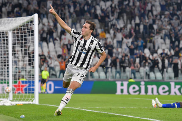 Federico Chiesa of Juventus celebrates after scoring his team's first goal during the UEFA Champions League group H match between Juventus and...