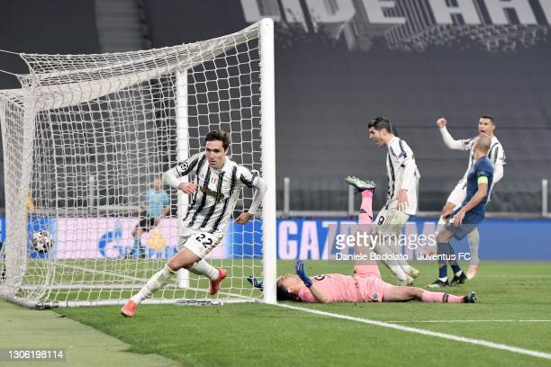 Federico Chiesa of Juventus celebrates after scoring his team's second goal during the UEFA Champions League Round of 16 match between Juventus and...