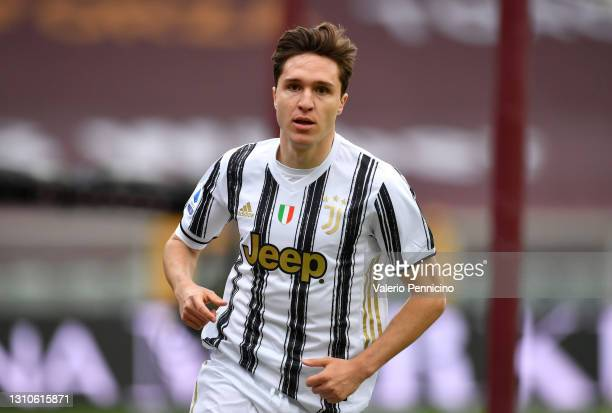 Federico Chiesa of Juventus celebrates after scoring their side's first goal during the Serie A match between Torino FC and Juventus at Stadio...