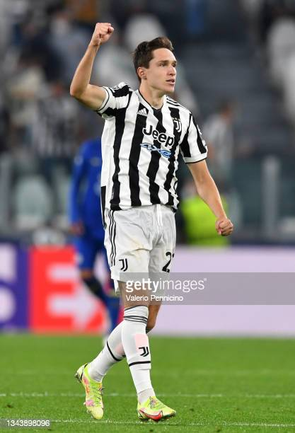 Federico Chiesa of Juventus celebrates after scoring their side's first goal during the UEFA Champions League group H match between Juventus and...