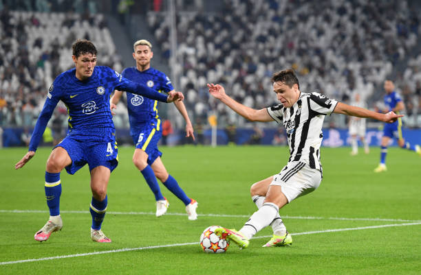 Federico Chiesa of Juventus evades challenge from Andreas Christensen of Chelsea FC during the UEFA Champions League group H match between Juventus...