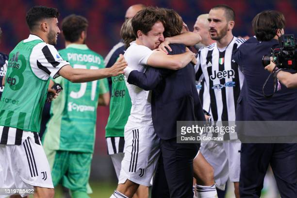 Federico Chiesa of Juventus FC and Andrea Pirlo head coach of Juventus FC clebrate the qualification at Champions League 2021/22 at the end of Serie...