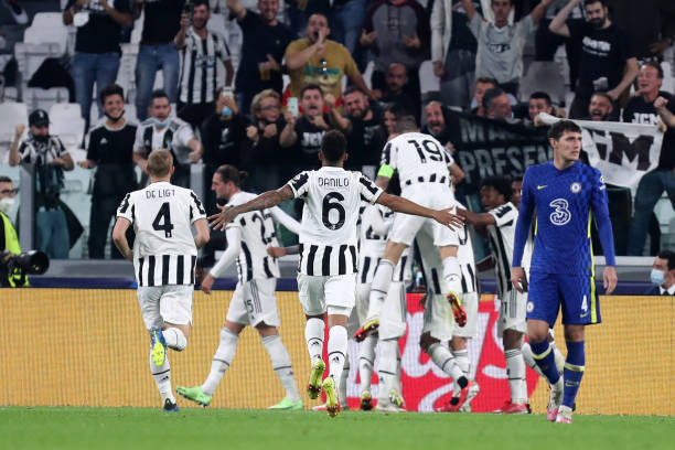Federico Chiesa of Juventus FC celebrates after scoring his team's first goal with team mates during the UEFA Champions League group H match between...