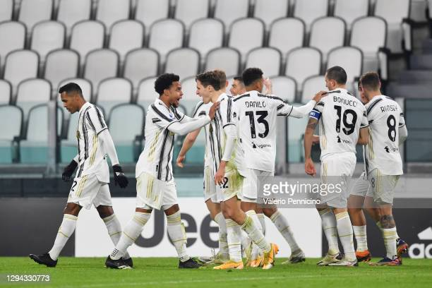 Federico Chiesa of Juventus F.C. Celebrates with teammate Weston McKennie after scoring their team's second goal during the Serie A match between...