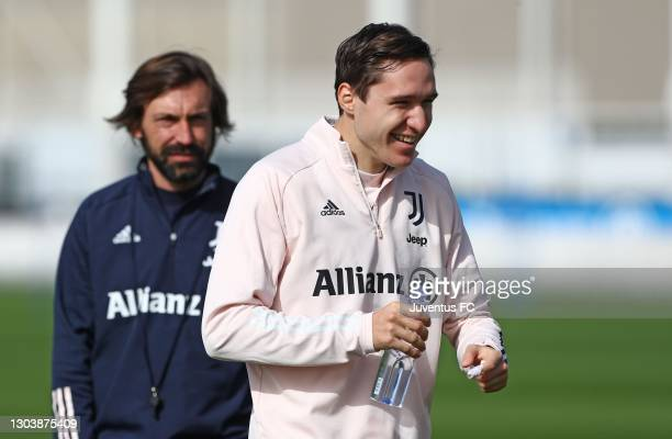Federico Chiesa of Juventus FC looks on during Juventus FC training session at JTC on February 24, 2021 in Turin, Italy.