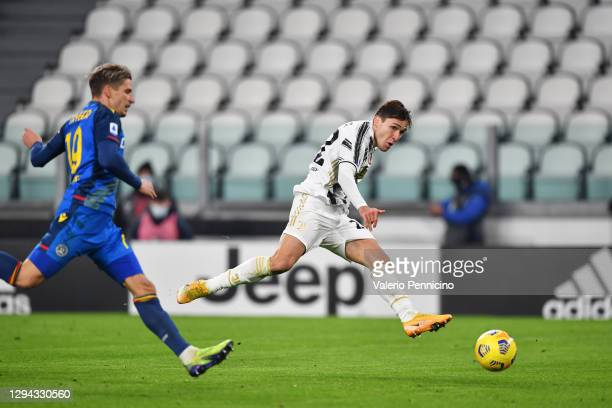 Federico Chiesa of Juventus F.C. Scores their team's second goal during the Serie A match between Juventus and Udinese Calcio at Allianz Stadium on...