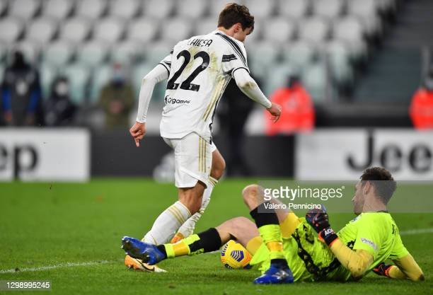 Federico Chiesa of Juventus scores their sides fourth goal during the Coppa Italia match between Juventus and SPAL at Allianz Stadium on January 27,...
