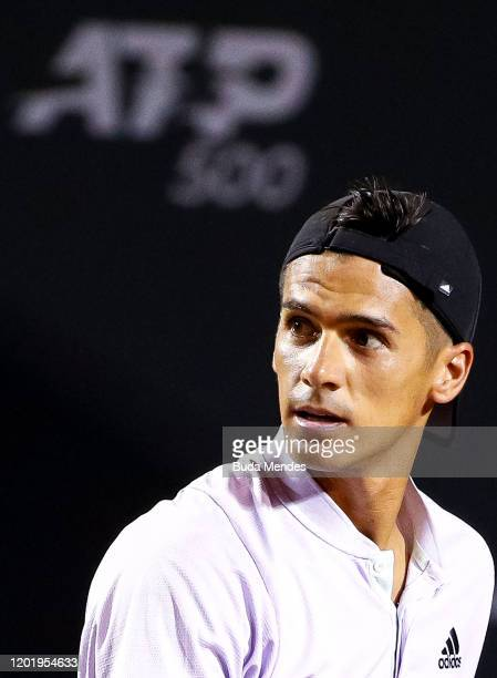 Federico Coria of Argentina looks on during his match against Carlos Alcaraz of Spain at ATP Rio Open 2020 at Jockey Club Brasileiro on February 19...