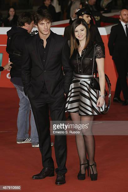 Federico Costantini and Simona Borioni attend the Il Postino red carpet during the 9th Rome Film Festival on October 26 2014 in Rome Italy