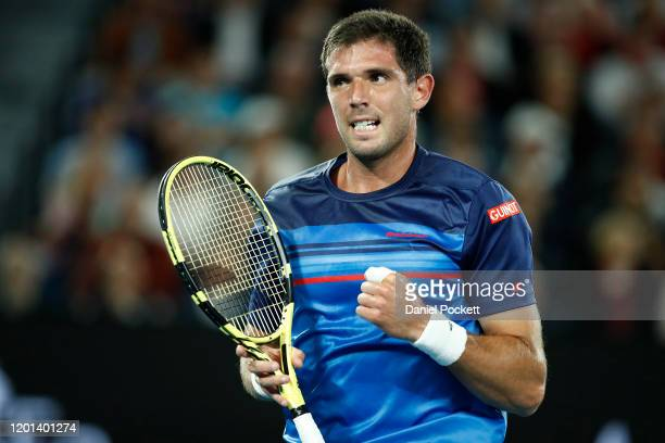 Federico Delbonis of Argentina celebrates after winning a point during his Men's Singles second round match against Rafael Nadal of Spain on day four...