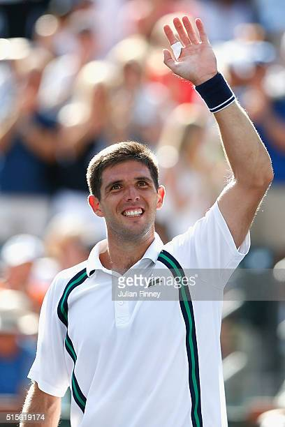 Federico Delbonis of Argentina celebrates defeating Andy Murray of Great Britain during day eight of the BNP Paribas Open at Indian Wells Tennis...