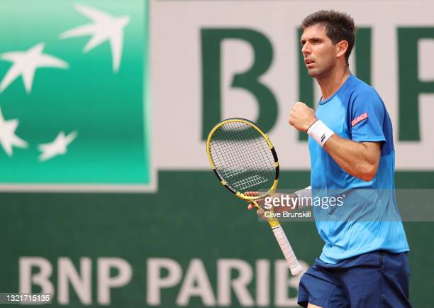 Federico Delbonis of Argentina celebrates during his men's singles third round match against Fabio Fognini of Italy on day six of the 2021 French...