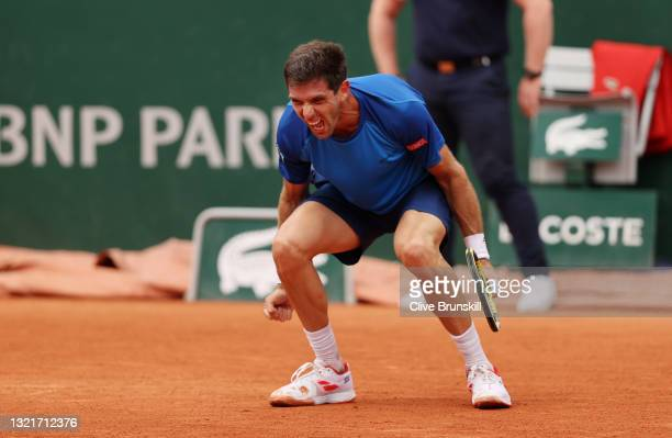 Federico Delbonis of Argentina celebrates winning match point during his men's singles third round match against Fabio Fognini of Italy on day six of...