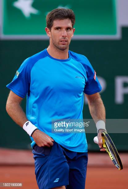 Federico Delbonis of Argentina looks on in his Fourth Round match against Alejandro Davidovich of Spain during day eight of the 2021 French Open at...