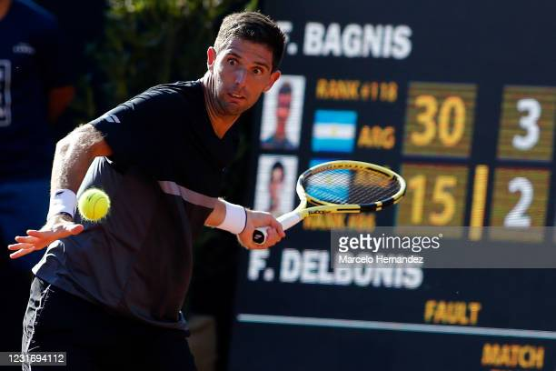 Federico Delbonis of Argentina plays a forehand during a match against Facundo Bagnis of Argentina as part of the semifinal of Chile Dove Men+Care...