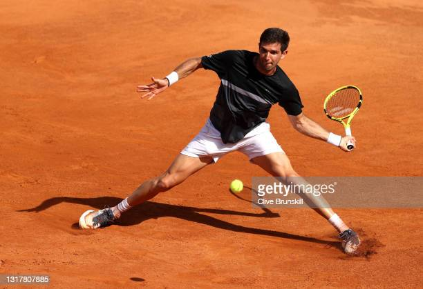 Federico Delbonis of Argentina plays a forehand in their mens singles third round match against Felix Auger-Aliassime of Canada during Day Six of the...