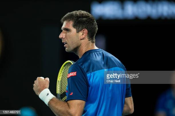 Federico Delbonis of Argentina pumps fist after a point in his second round match against Rafeal Nadal of Spain on day four of the 2020 Australian...