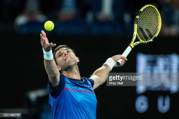 Federico Delbonis of Argentina serves in his second round match against Rafeal Nadal of Spain on day four of the 2020 Australian Open at Melbourne...