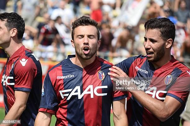 Federico Di Francesco of Bologna FC celebrates after scoring his team's second goal during the Serie a match between Bologna FC and Cagliari Calcio...