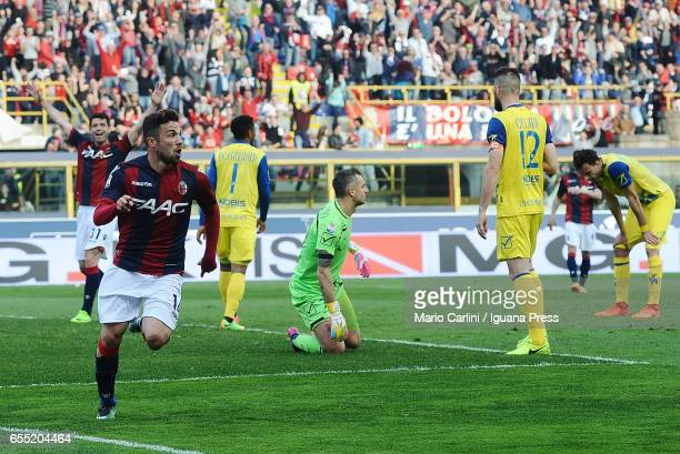 Federico Di Francesco of Bologna FC celebrates after scoring his team's fourth goal during the Serie A match between Bologna FC and AC ChievoVerona...