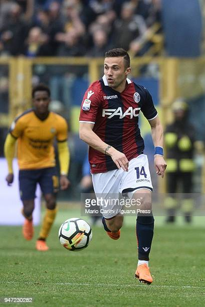 Federico Di Francesco of Bologna FC in action during the serie A match between Bologna FC and Hellas Verona FC at Stadio Renato Dall'Ara on April 15...