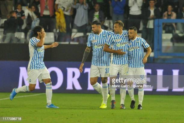 Federico Di Francesco of SPAL celebrates after scoring a goal during the Serie A match between SPAL and US Lecce at Stadio Paolo Mazza on September...
