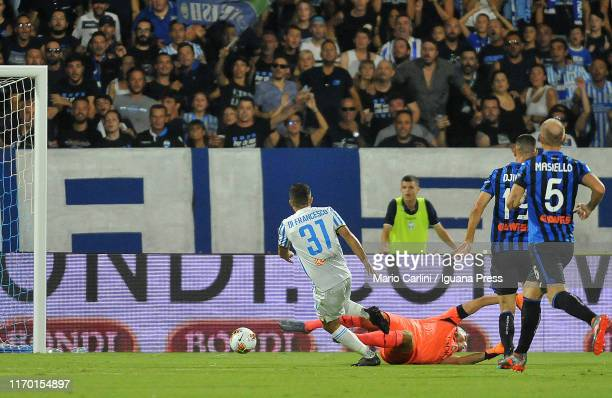 Federico Di Francesco of SPAL scores the opening goal during the Serie A match between SPAL and Atalanta BC at Stadio Paolo Mazza on August 25 2019...
