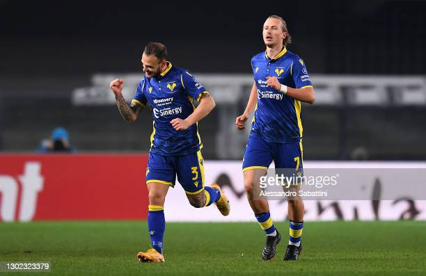 Federico Dimarco of Hellas Verona F.C. Celebrates after scoring their team's first goal during the Serie A match between Hellas Verona FC and Parma...