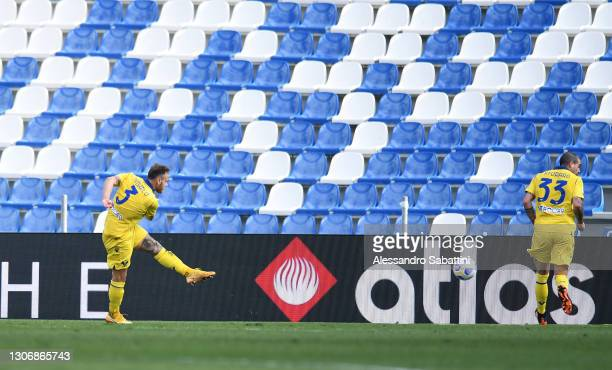 Federico Dimarco of Hellas Verona F.C. Scores their team's second goal during the Serie A match between US Sassuolo and Hellas Verona FC at Mapei...