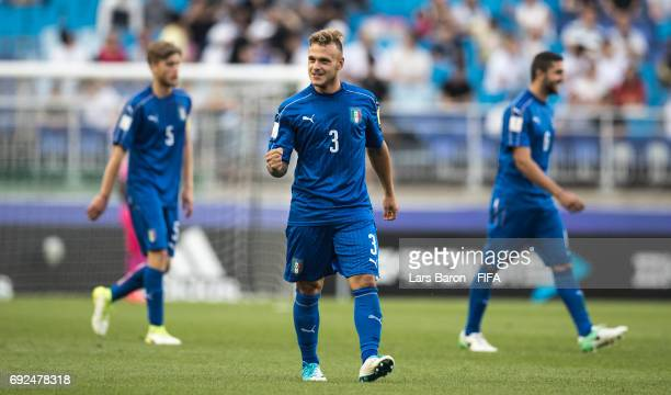 Federico Dimarco of Italy celebrates after scoring his teams second goal during the FIFA U-20 World Cup Korea Republic 2017 Quarter Final match...