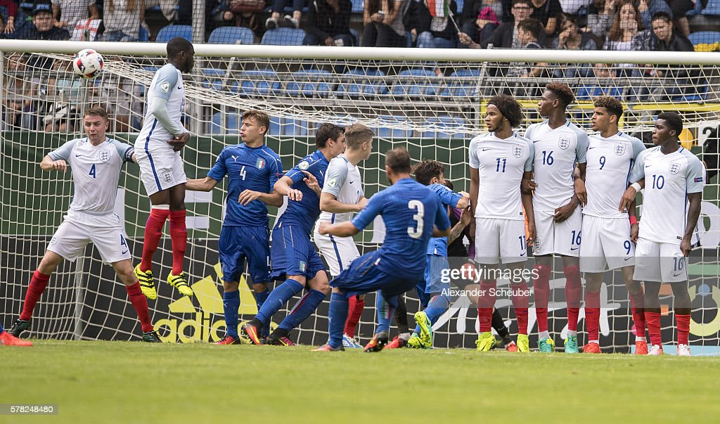 Federico Dimarco of Italy scores the second goal for his team during the U19 Match between England and Italy at Carl-Benz-Stadium on July 21, 2016 in Mannheim, Germany.