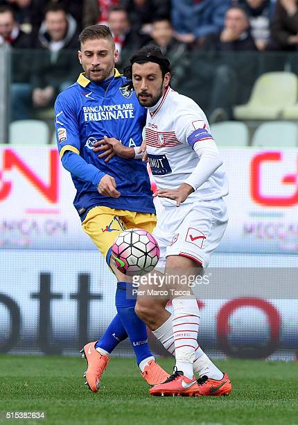 Federico Dionisi of Frosinone calcio competes for the ball with Cristian Zaccardo of Carpi Fc during the Serie A match between Carpi FC and Frosinone...