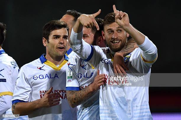 Federico Dionisi of Frosinone celebrates after scoring the opening goal during the Serie B match between Trapani Calcio and Frosinone Calcio at...