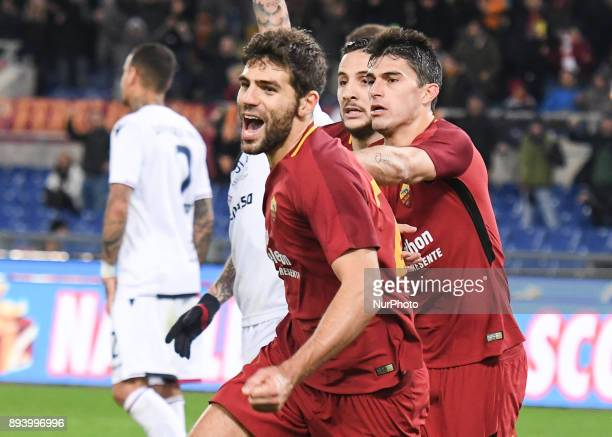Federico Fazio celebrates after scoring goal 10 during the Italian Serie A football match between AS Roma and Cagliari at the Olympic Stadium in Rome...