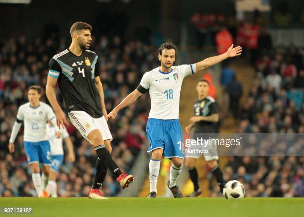 Federico Fazio during the International friendly match between Italy and Argentina at Etihad Stadium on March 23 2018 in Manchester England