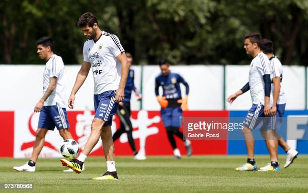 Federico Fazio of Argentina controls the ball during a training session at Training site at Stadium of Syroyezhkin Sports School on June 12 2018 in...
