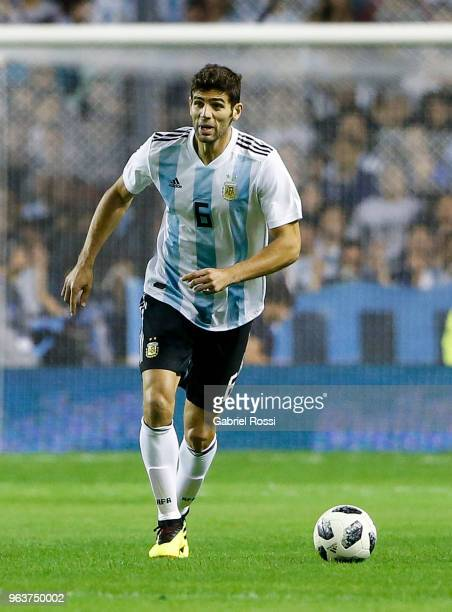Federico Fazio of Argentina drives the ball during an international friendly match between Argentina and Haiti at Alberto J Armando Stadium on May 29...