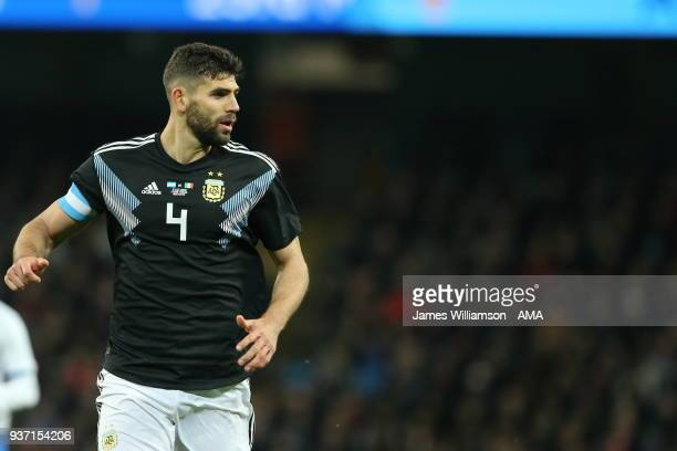 Federico Fazio of Argentina during an International Friendly fixture between Italy and Argentina at Etihad Stadium on March 23 2018 in Manchester...