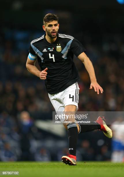 Federico Fazio of Argentina during the International friendly match between Argentina and Italy at Etihad Stadium on March 23 2018 in Manchester...