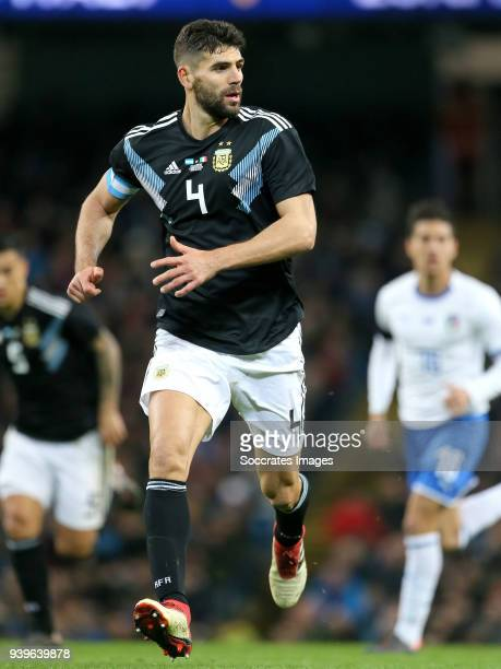 Federico Fazio of Argentina during the International Friendly match between Italy v Argentina at the Etihad Stadium on March 23 2018 in Manchester...