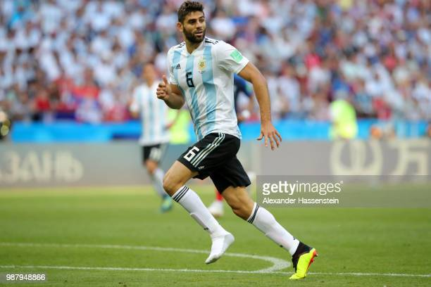 Federico Fazio of Argentina in action during the 2018 FIFA World Cup Russia Round of 16 match between France and Argentina at Kazan Arena on June 30...