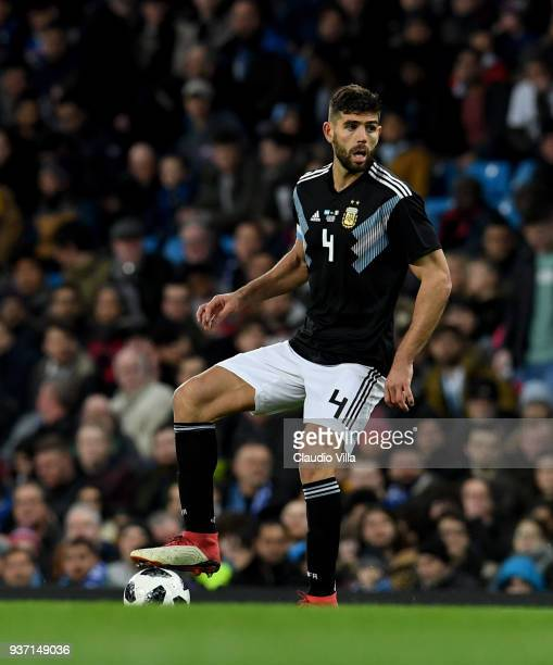 Federico Fazio of Argentina in action during the International Friendly between Argentina and Italy at Etihad Stadium on March 23 2018 in Manchester...