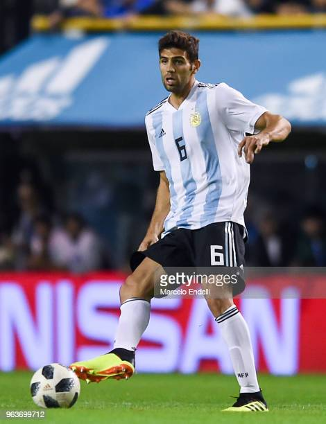 Federico Fazio of Argentina kicks the ball during an international friendly match between Argentina and Haiti at Alberto J Armando Stadium on May 29...