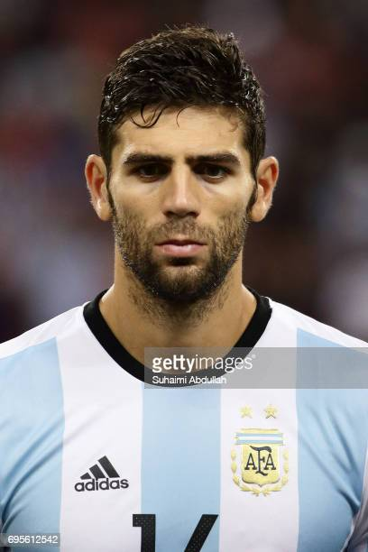 Federico Fazio of Argentina lines up on the pitch during the International Test match between Argentina and Singapore at National Stadium on June 13...