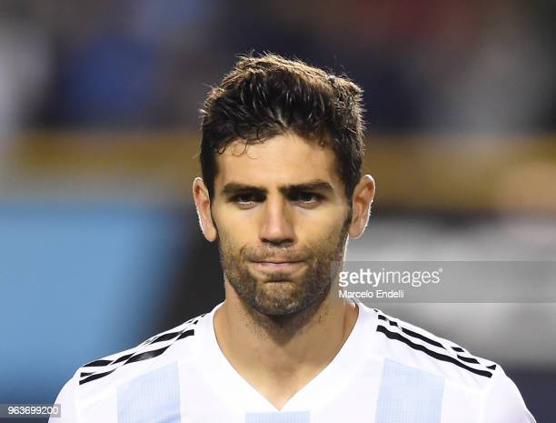 Federico Fazio of Argentina looks on before an international friendly match between Argentina and Haiti at Alberto J Armando Stadium on May 29 2018...