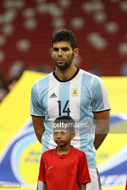 Federico Fazio of Argentina looks on before the international friendly match between Argentina and Singapore at National Stadium on June 13 2017 in...