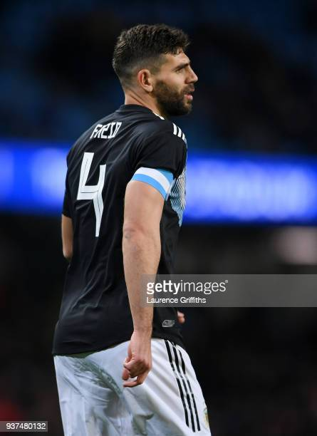 Federico Fazio of Argentina looks on during the International Friendly match between Italy and Argentina at Etihad Stadium on March 23 2018 in...